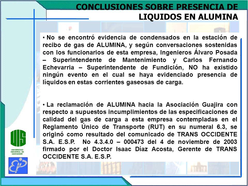 CONCLUSIONES SOBRE PRESENCIA DE LIQUIDOS EN ALUMINA