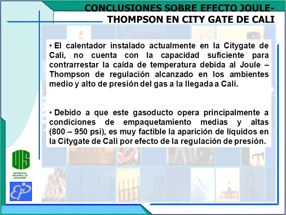 CONCLUSIONES SOBRE EFECTO JOULE-THOMPSON EN CITY GATE DE CALI