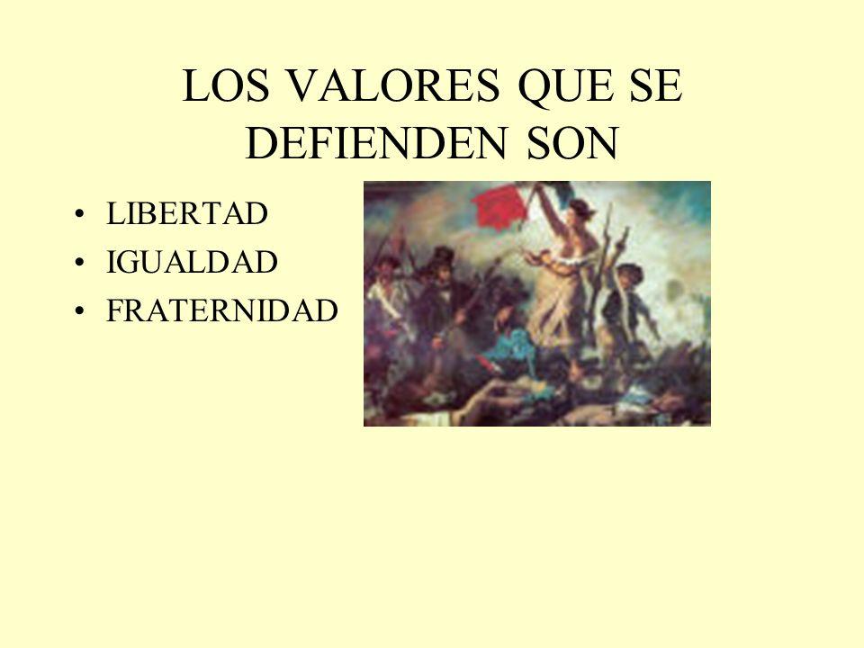 LOS VALORES QUE SE DEFIENDEN SON