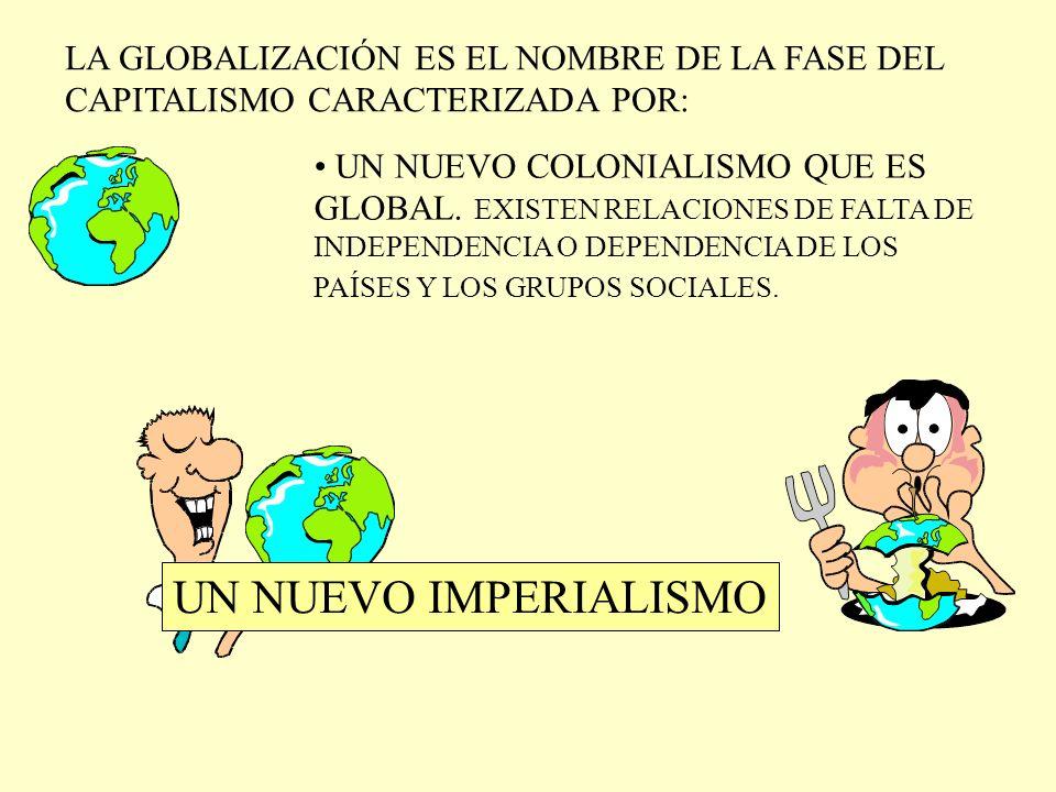 LA GLOBALIZACIÓN ES EL NOMBRE DE LA FASE DEL CAPITALISMO CARACTERIZADA POR: