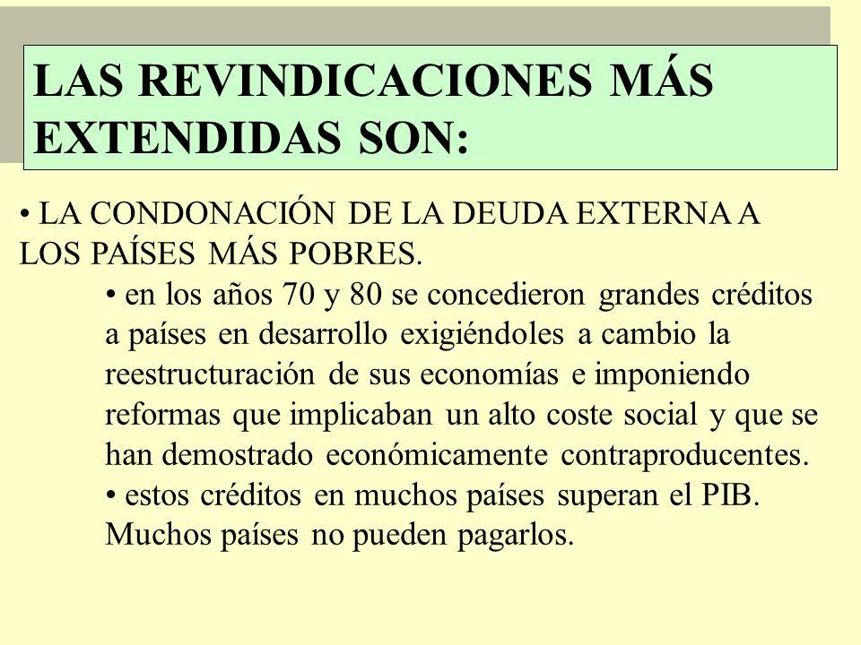 LAS REVINDICACIONES MÁS EXTENDIDAS SON: