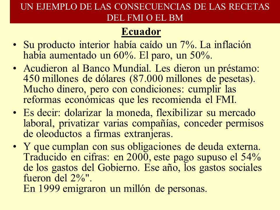 UN EJEMPLO DE LAS CONSECUENCIAS DE LAS RECETAS DEL FMI O EL BM