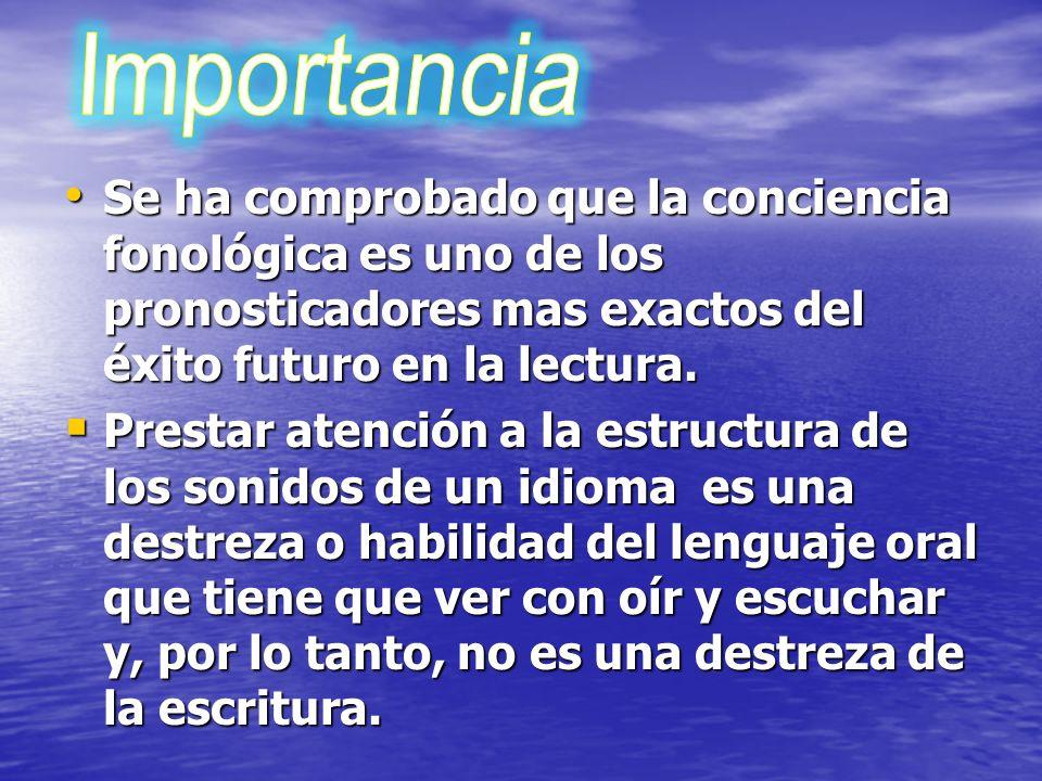 Importancia Se ha comprobado que la conciencia fonológica es uno de los pronosticadores mas exactos del éxito futuro en la lectura.