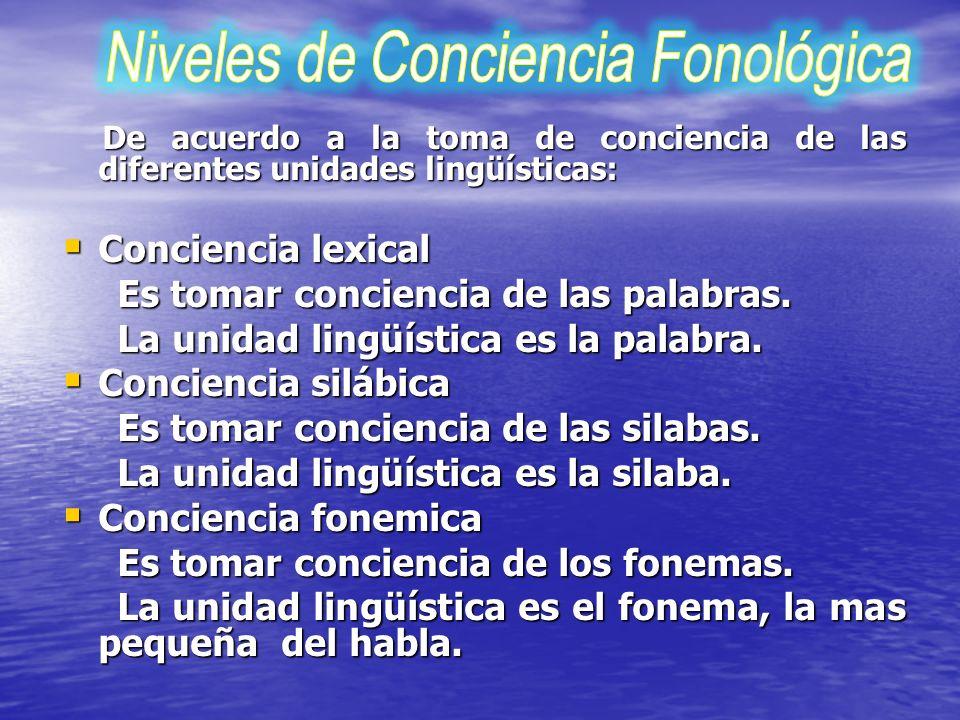 Niveles de Conciencia Fonológica
