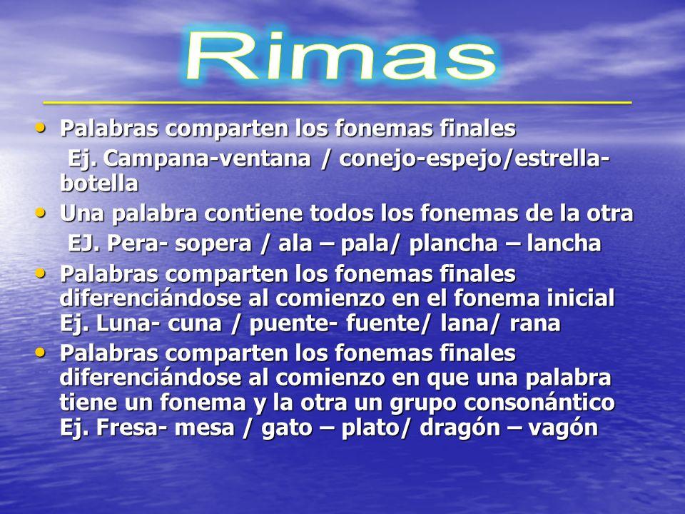 Rimas Palabras comparten los fonemas finales