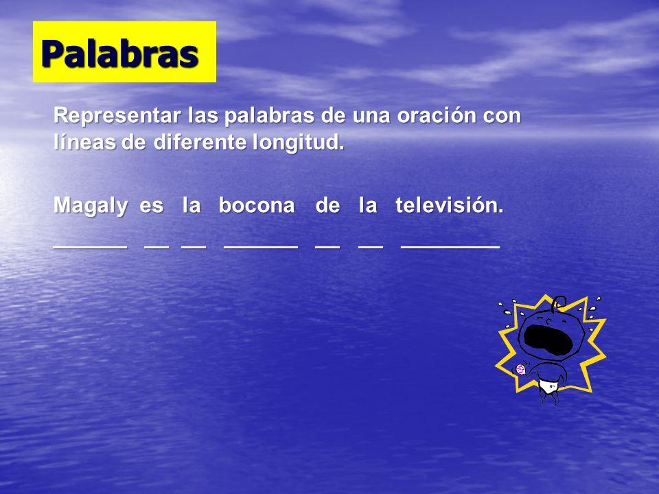 Palabras Representar las palabras de una oración con líneas de diferente longitud. Magaly es la bocona de la televisión.