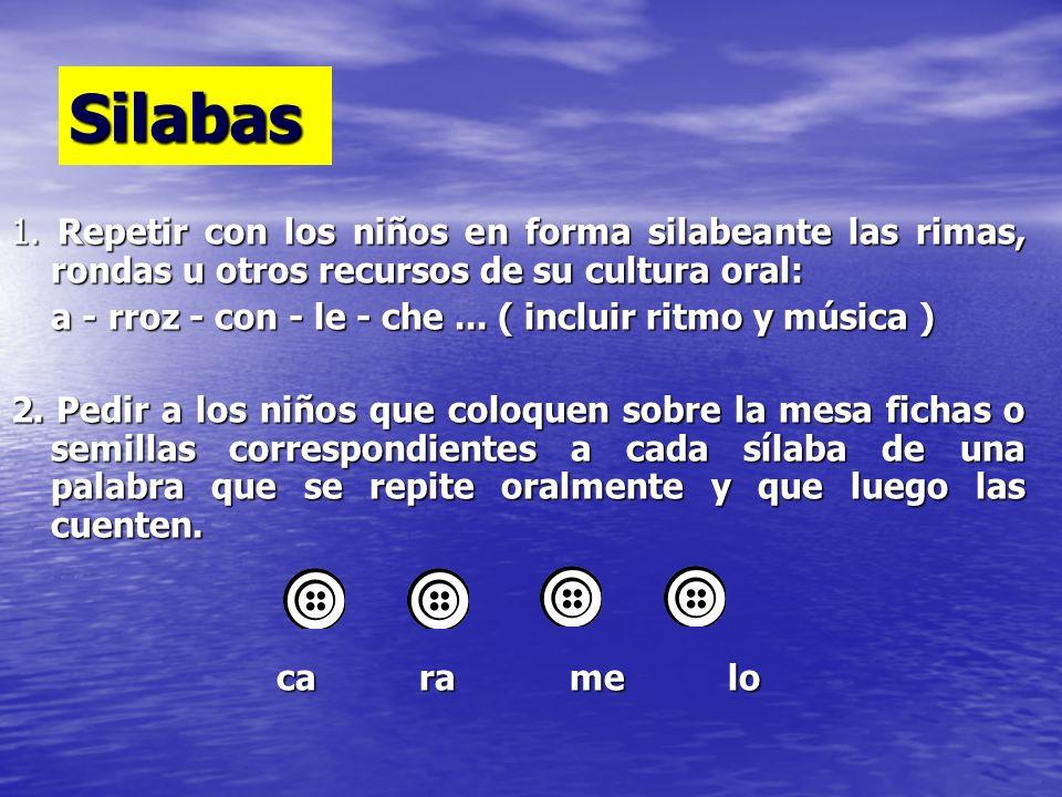 Silabas 1. Repetir con los niños en forma silabeante las rimas, rondas u otros recursos de su cultura oral: