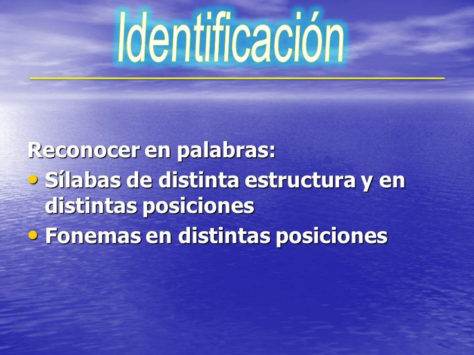 Identificación Reconocer en palabras: