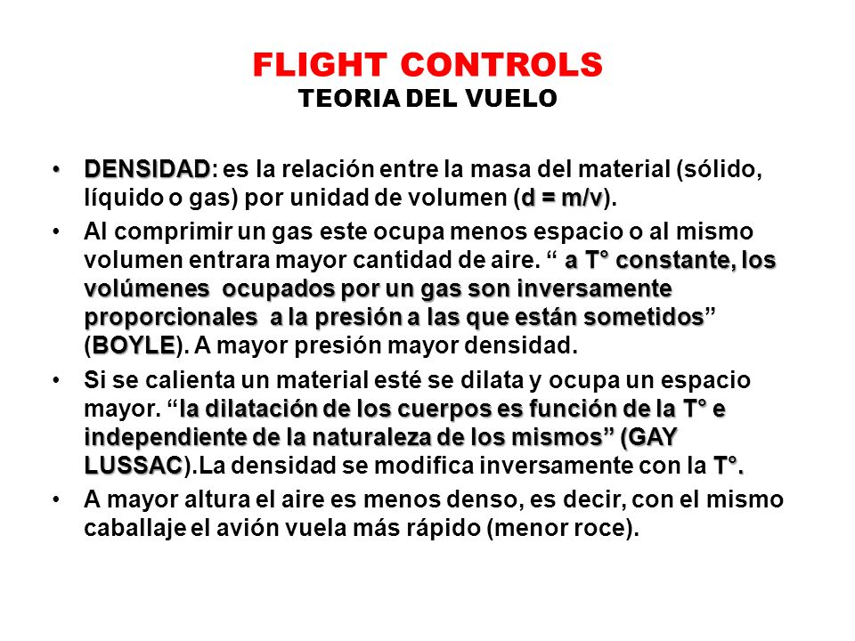 FLIGHT CONTROLS TEORIA DEL VUELO