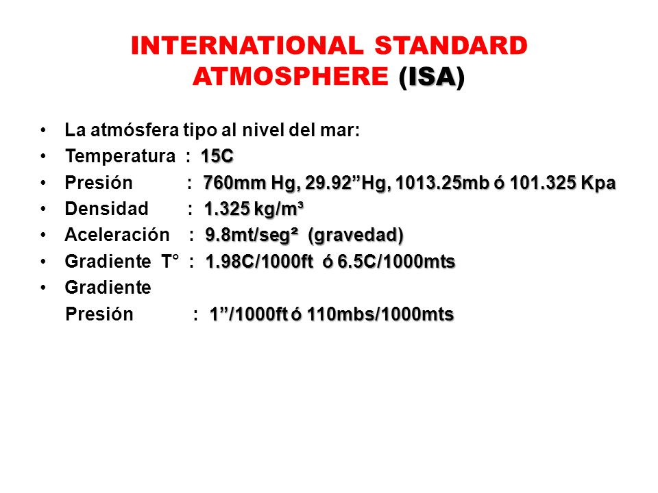 INTERNATIONAL STANDARD ATMOSPHERE (ISA)