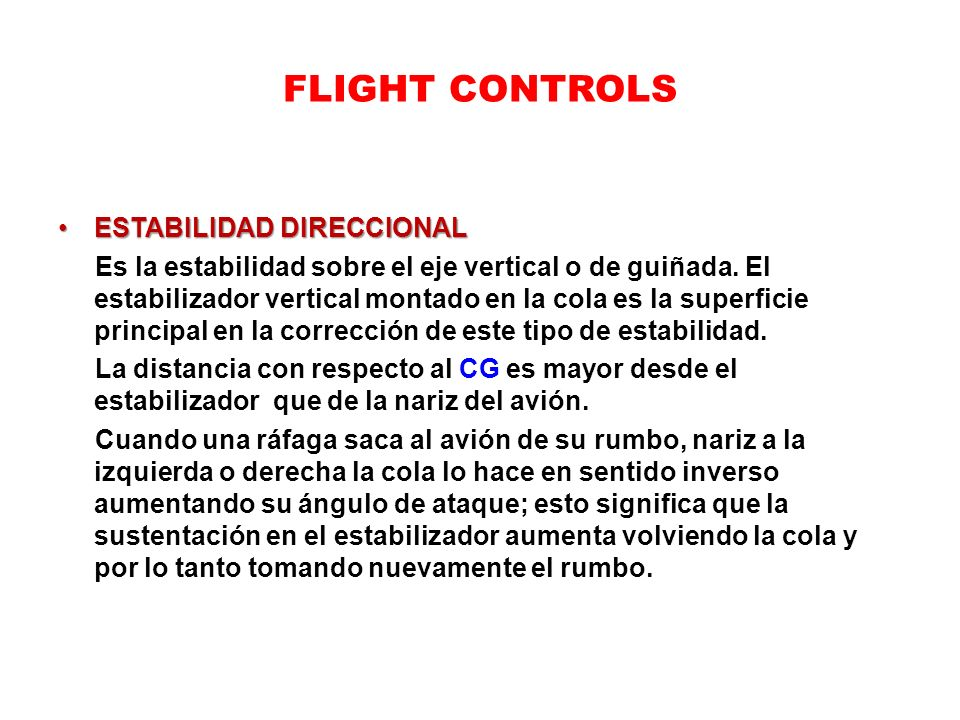FLIGHT CONTROLS ESTABILIDAD DIRECCIONAL