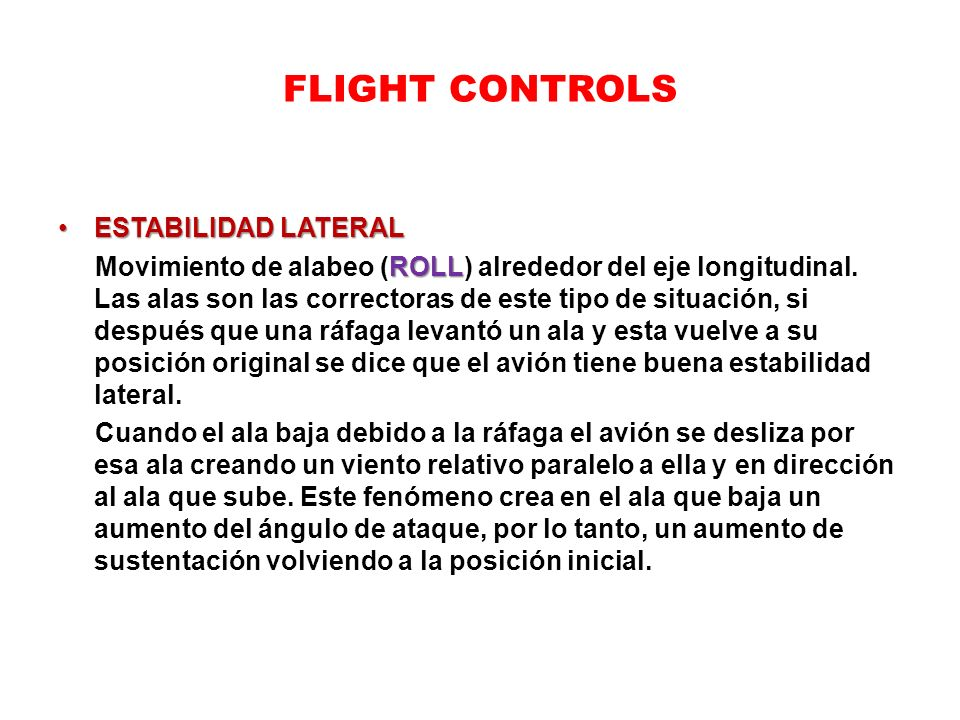 FLIGHT CONTROLS ESTABILIDAD LATERAL