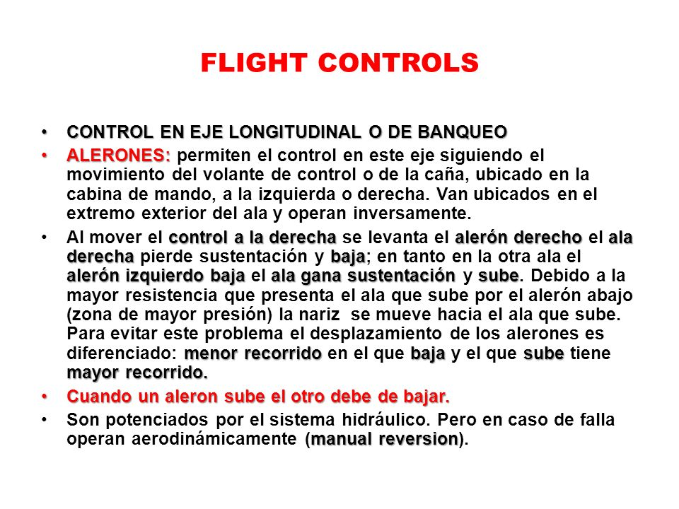 FLIGHT CONTROLS CONTROL EN EJE LONGITUDINAL O DE BANQUEO