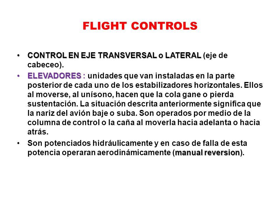 FLIGHT CONTROLS CONTROL EN EJE TRANSVERSAL o LATERAL (eje de cabeceo).