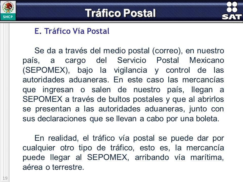 Tráfico Postal E. Tráfico Vía Postal