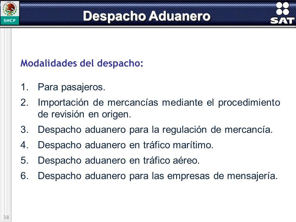 Despacho Aduanero Modalidades del despacho: 1. Para pasajeros.