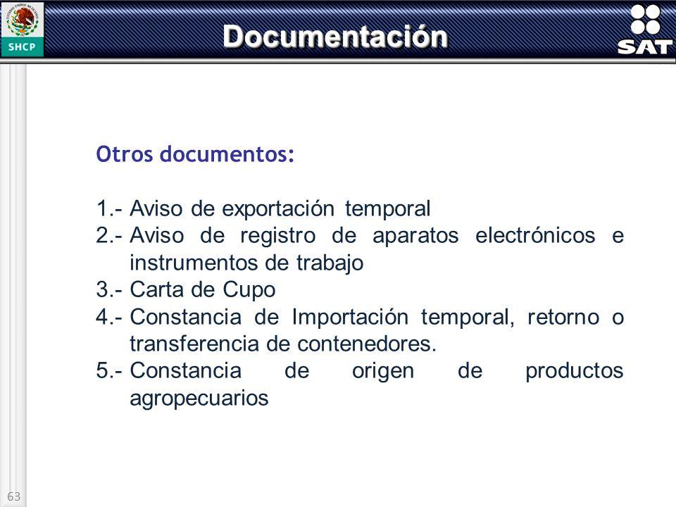 Documentación Otros documentos: 1.- Aviso de exportación temporal