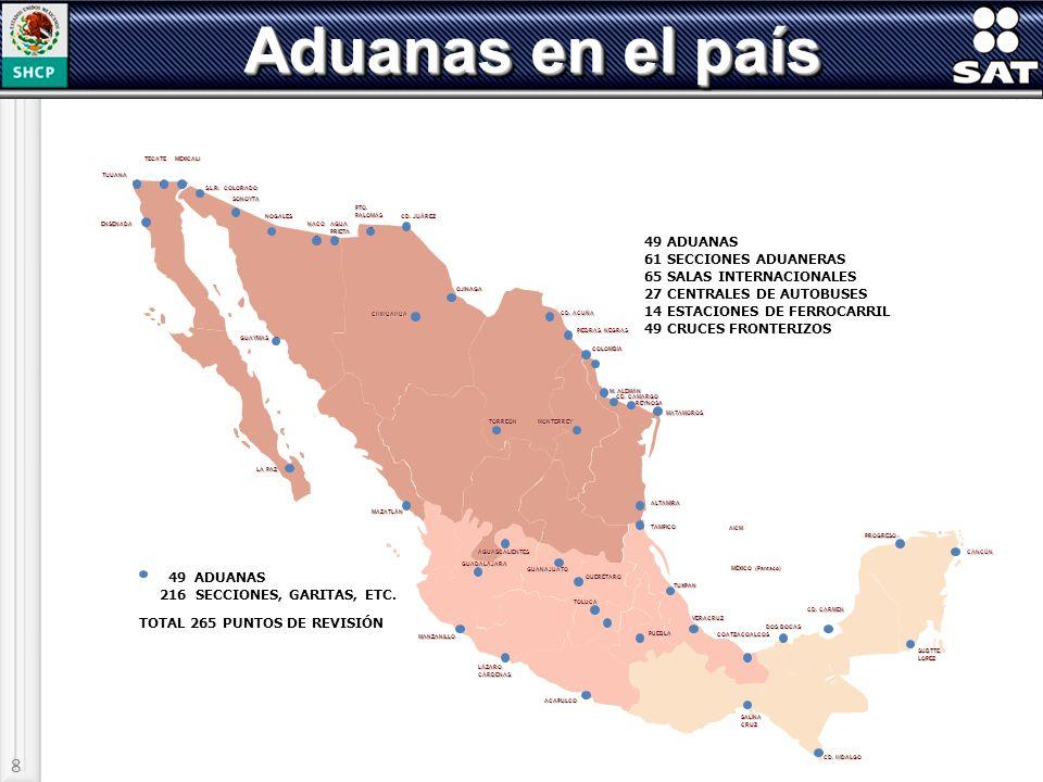 Aduanas en el país 8 49 ADUANAS 61 SECCIONES ADUANERAS