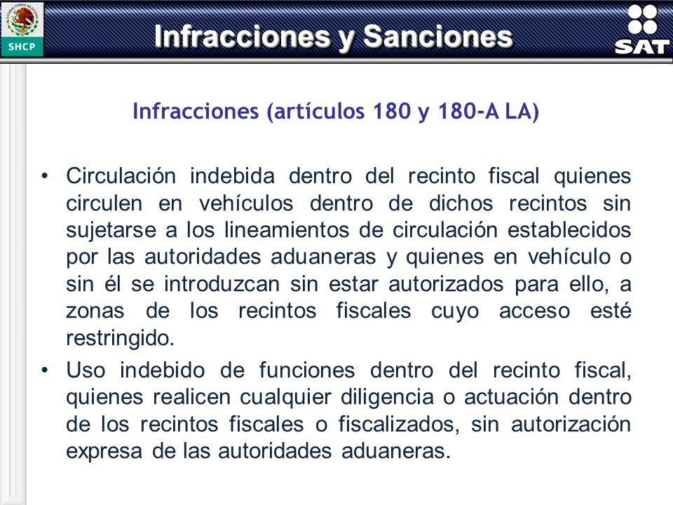 Infracciones y Sanciones Infracciones (artículos 180 y 180-A LA)