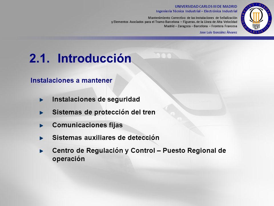 2.1. Introducción Instalaciones a mantener Instalaciones de seguridad