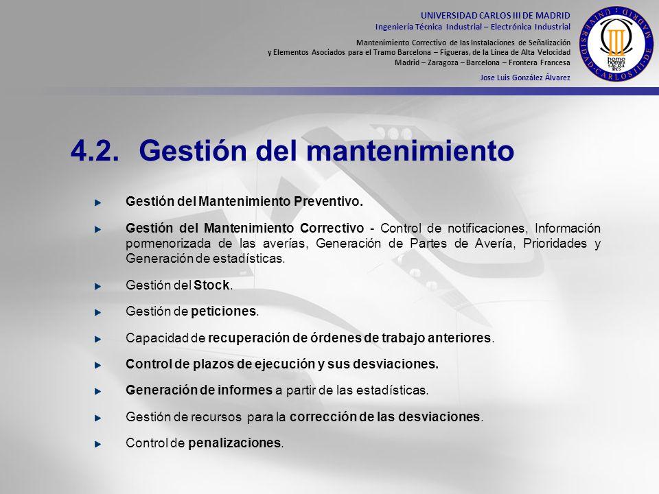 4.2. Gestión del mantenimiento