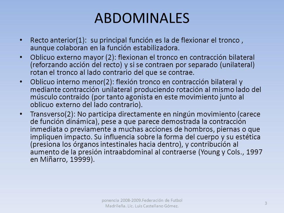 ABDOMINALESRecto anterior(1): su principal función es la de flexionar el tronco , aunque colaboran en la función estabilizadora.