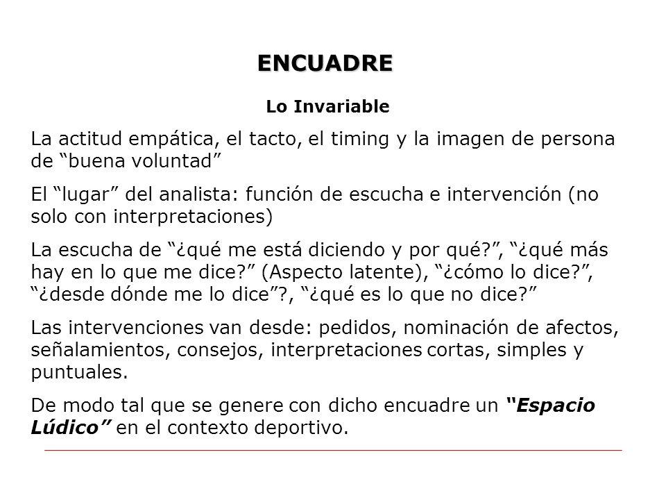 ENCUADRE Lo Invariable. La actitud empática, el tacto, el timing y la imagen de persona de buena voluntad