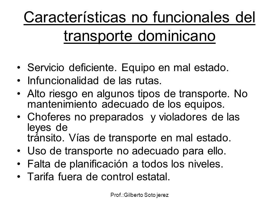 Características no funcionales del transporte dominicano