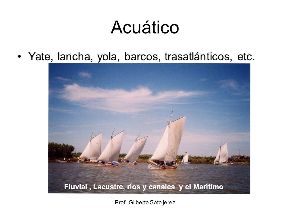 Fluvial , Lacustre, ríos y canales y el Marítimo