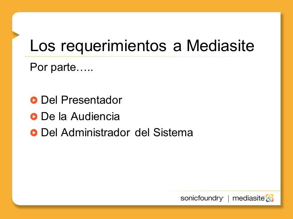 Los requerimientos a Mediasite