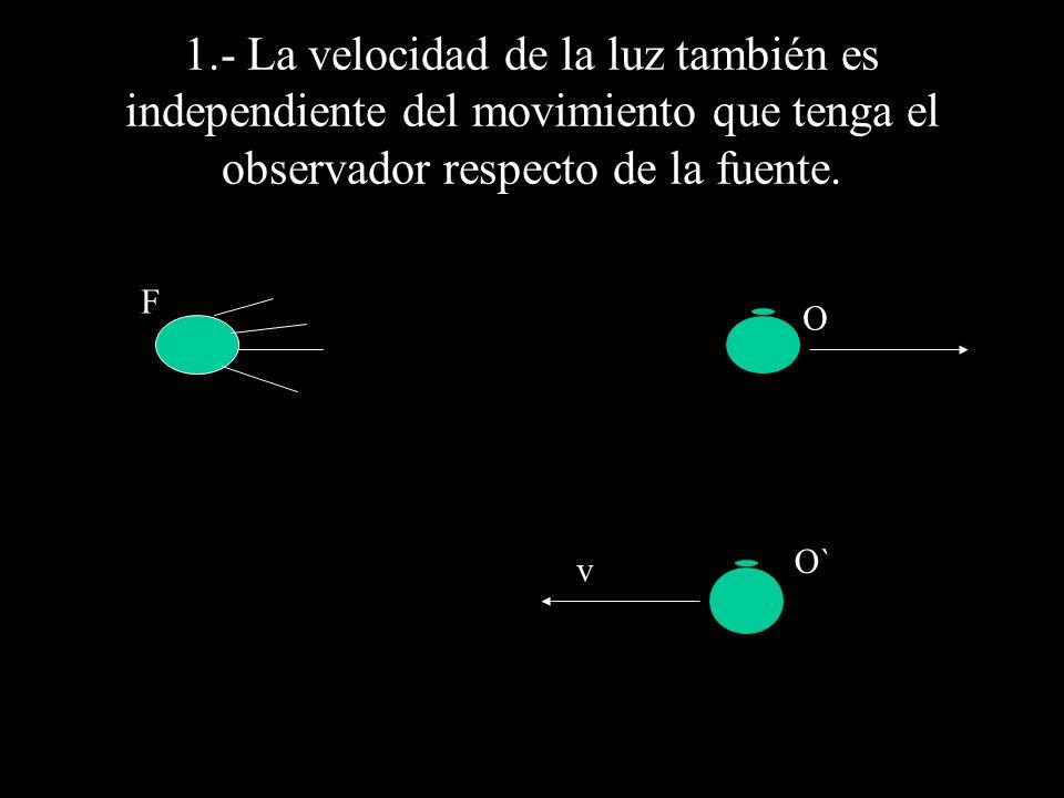 1.- La velocidad de la luz también es independiente del movimiento que tenga el observador respecto de la fuente.