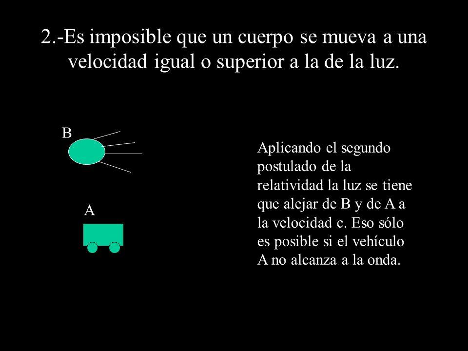 2.-Es imposible que un cuerpo se mueva a una velocidad igual o superior a la de la luz.