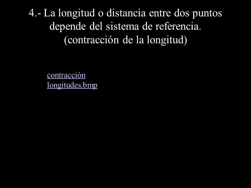 4.- La longitud o distancia entre dos puntos depende del sistema de referencia. (contracción de la longitud)