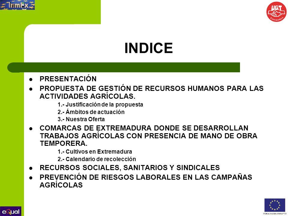 INDICE PRESENTACIÓN. PROPUESTA DE GESTIÓN DE RECURSOS HUMANOS PARA LAS ACTIVIDADES AGRÍCOLAS. 1.- Justificación de la propuesta.