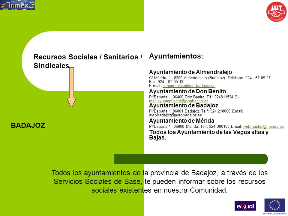 Recursos Sociales / Sanitarios / Sindicales Ayuntamientos: