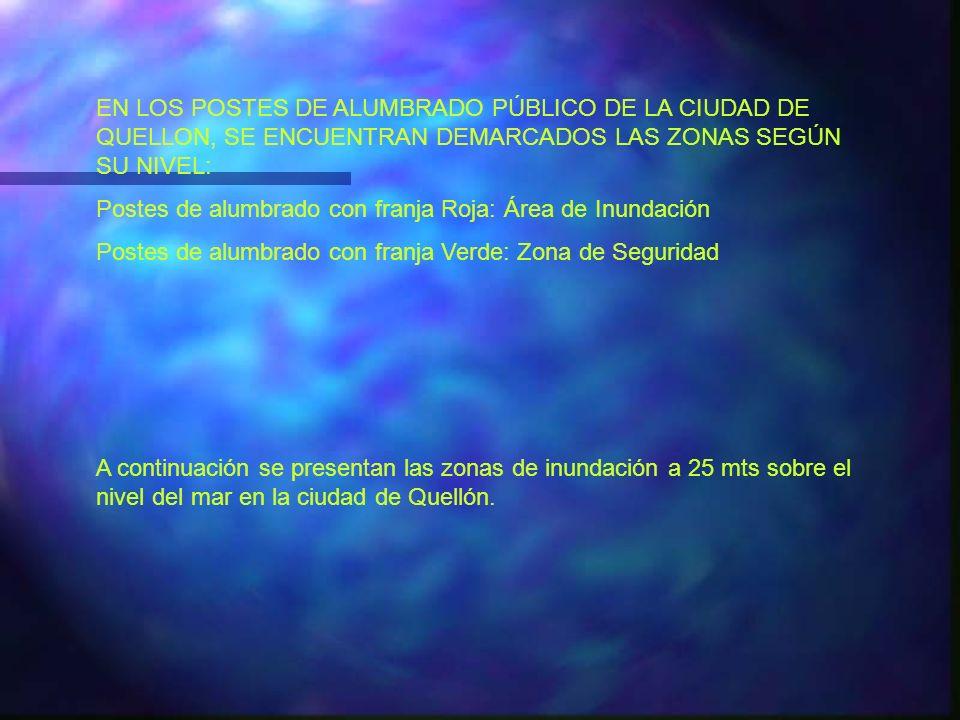 EN LOS POSTES DE ALUMBRADO PÚBLICO DE LA CIUDAD DE QUELLON, SE ENCUENTRAN DEMARCADOS LAS ZONAS SEGÚN SU NIVEL: