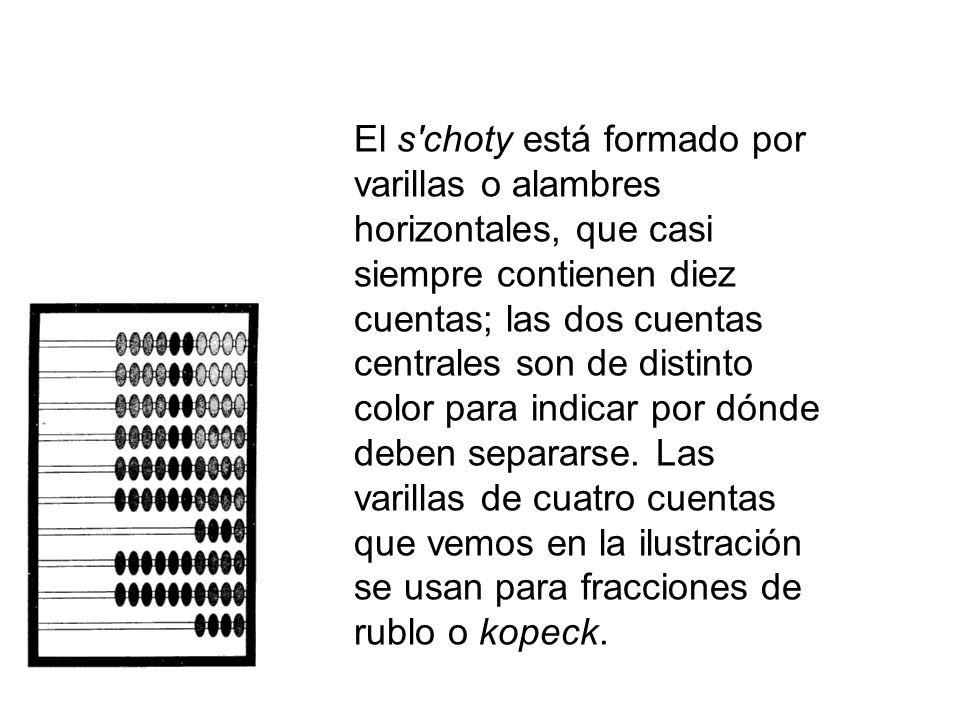 El s choty está formado por varillas o alambres horizontales, que casi siempre contienen diez cuentas; las dos cuentas centrales son de distinto color para indicar por dónde deben separarse.