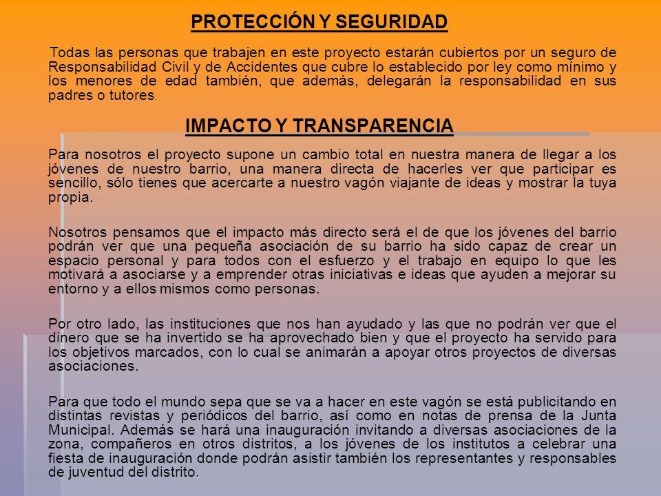 PROTECCIÓN Y SEGURIDAD IMPACTO Y TRANSPARENCIA