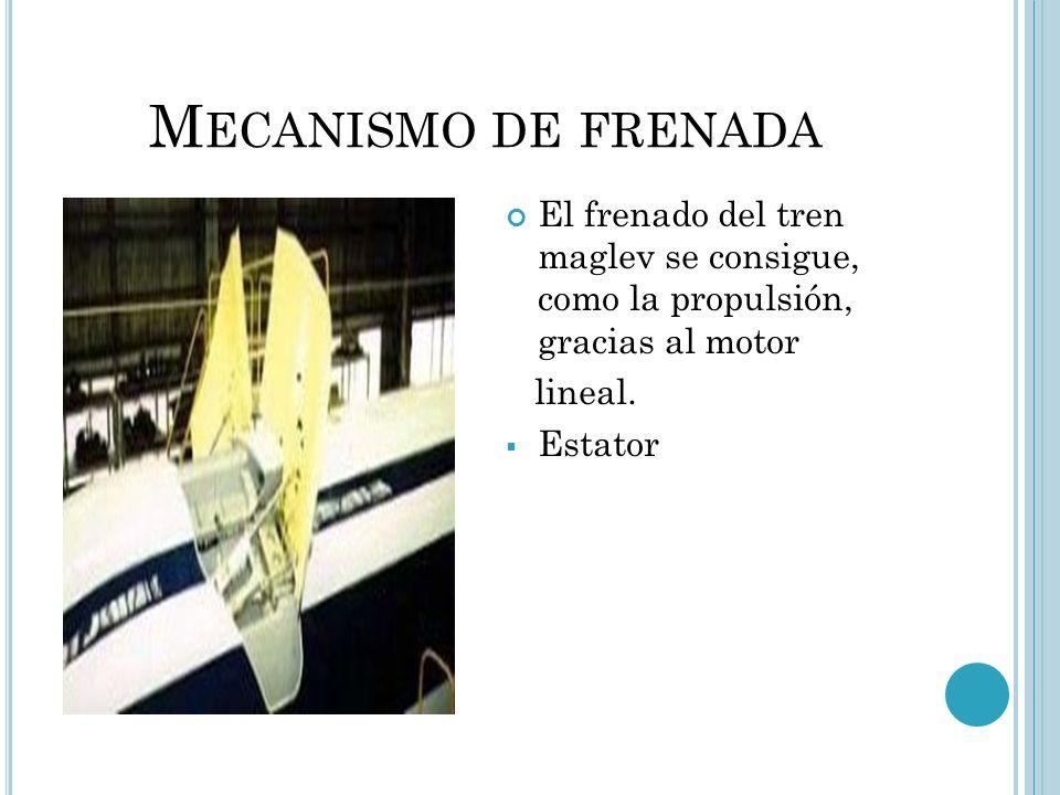 Mecanismo de frenadaEl frenado del tren maglev se consigue, como la propulsión, gracias al motor.