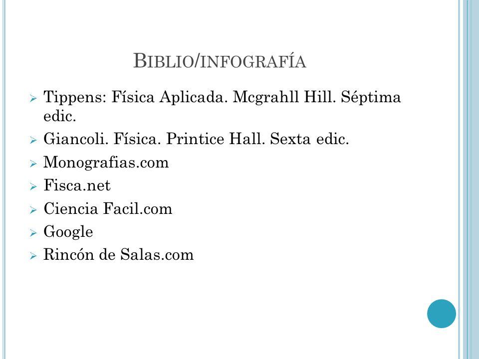 Biblio/infografía Tippens: Física Aplicada. Mcgrahll Hill. Séptima edic. Giancoli. Física. Printice Hall. Sexta edic.