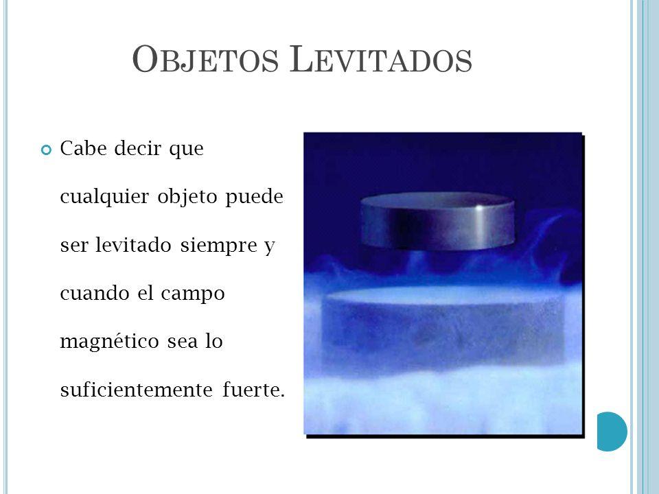Objetos LevitadosCabe decir que cualquier objeto puede ser levitado siempre y cuando el campo magnético sea lo suficientemente fuerte.