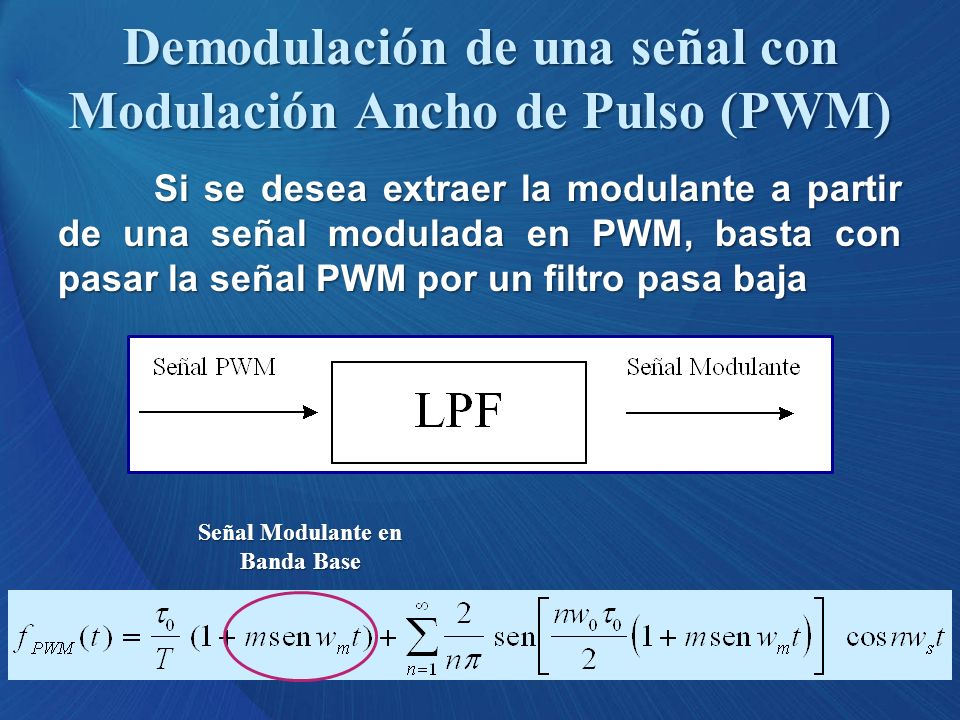 Demodulación de una señal con Modulación Ancho de Pulso (PWM)
