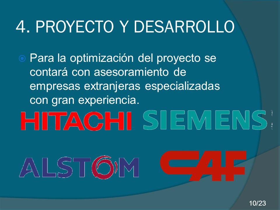 4. PROYECTO Y DESARROLLO Para la optimización del proyecto se contará con asesoramiento de empresas extranjeras especializadas con gran experiencia.