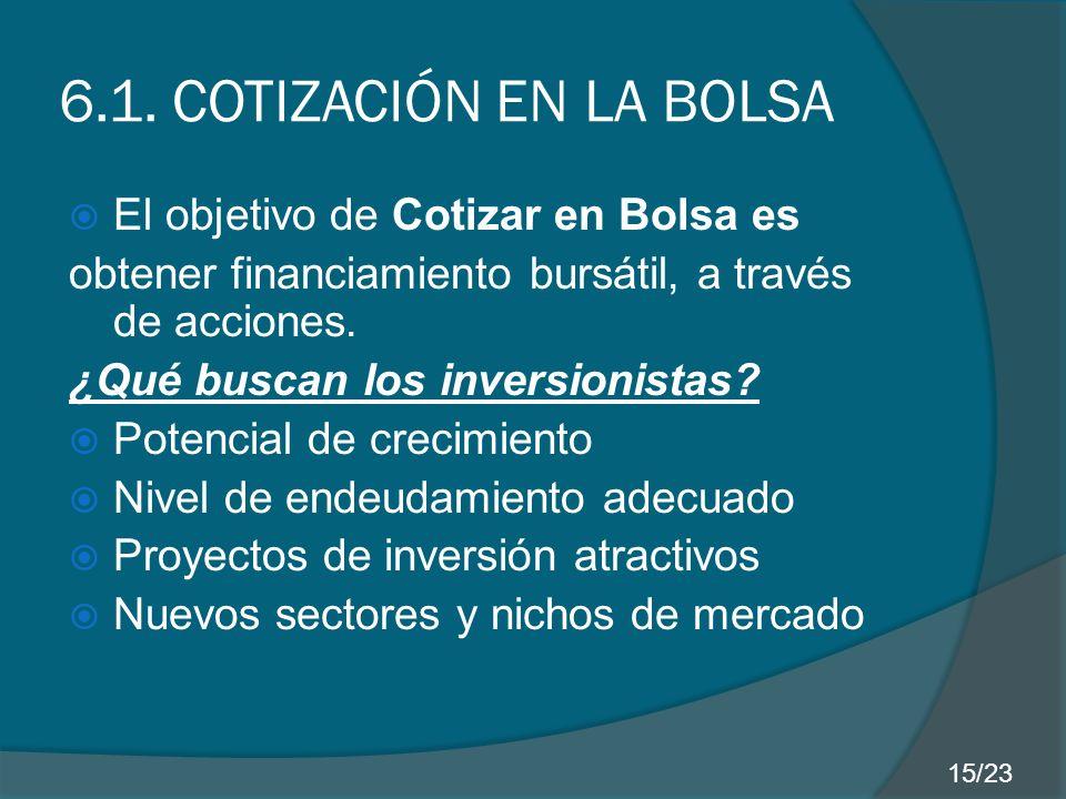 6.1. COTIZACIÓN EN LA BOLSA El objetivo de Cotizar en Bolsa es