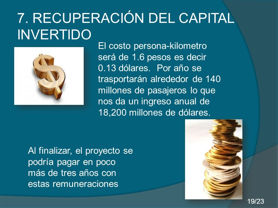 7. RECUPERACIÓN DEL CAPITAL INVERTIDO