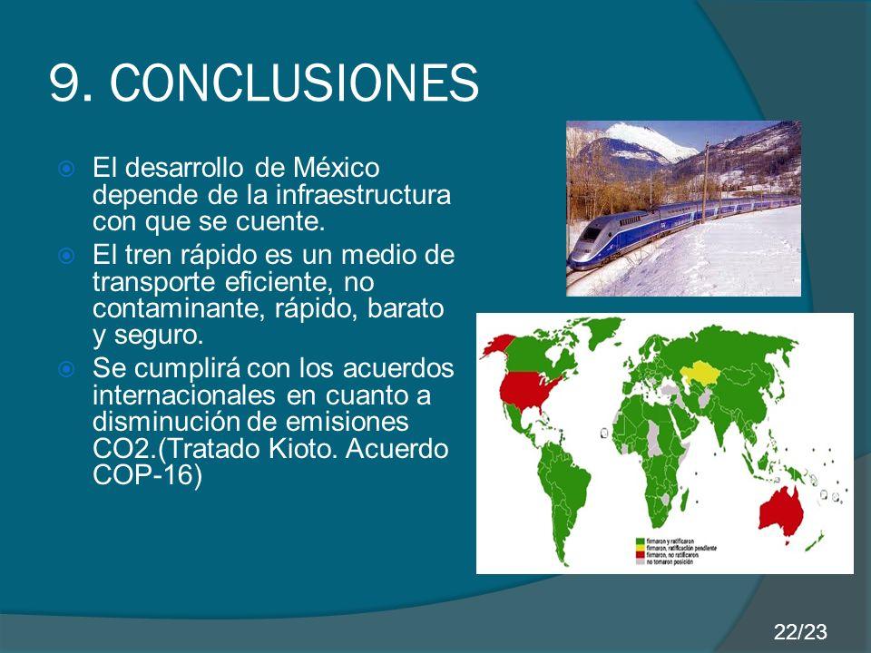 9. CONCLUSIONES El desarrollo de México depende de la infraestructura con que se cuente.