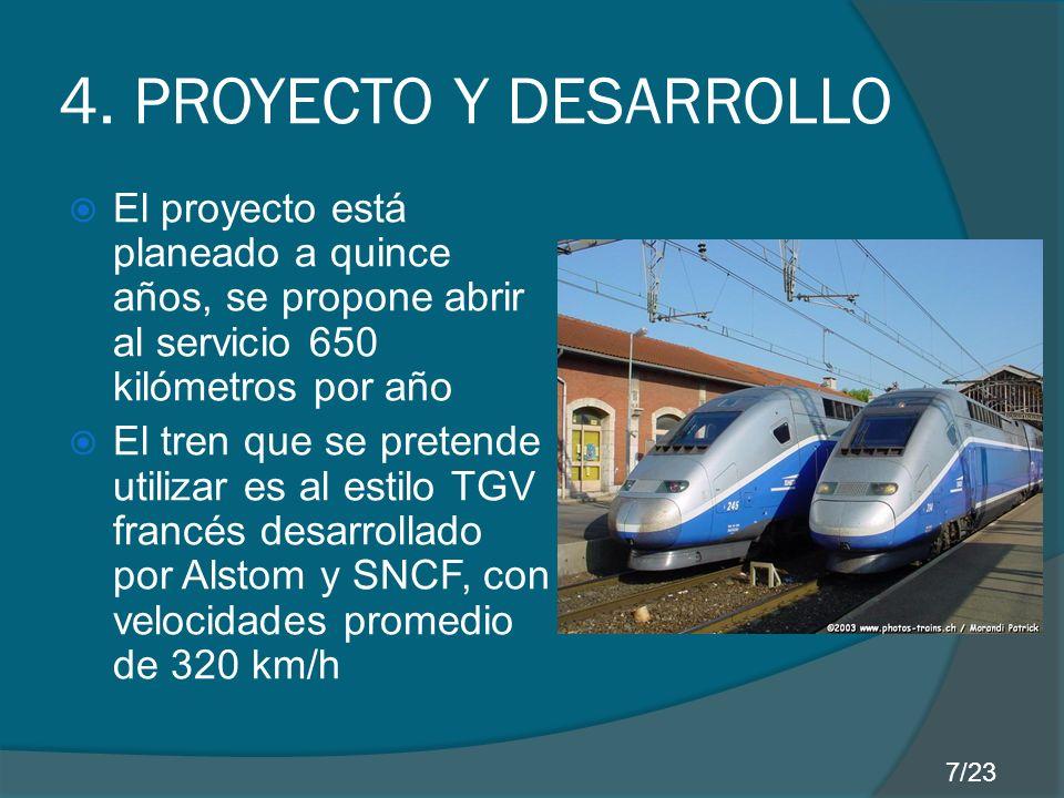 4. PROYECTO Y DESARROLLO El proyecto está planeado a quince años, se propone abrir al servicio 650 kilómetros por año.