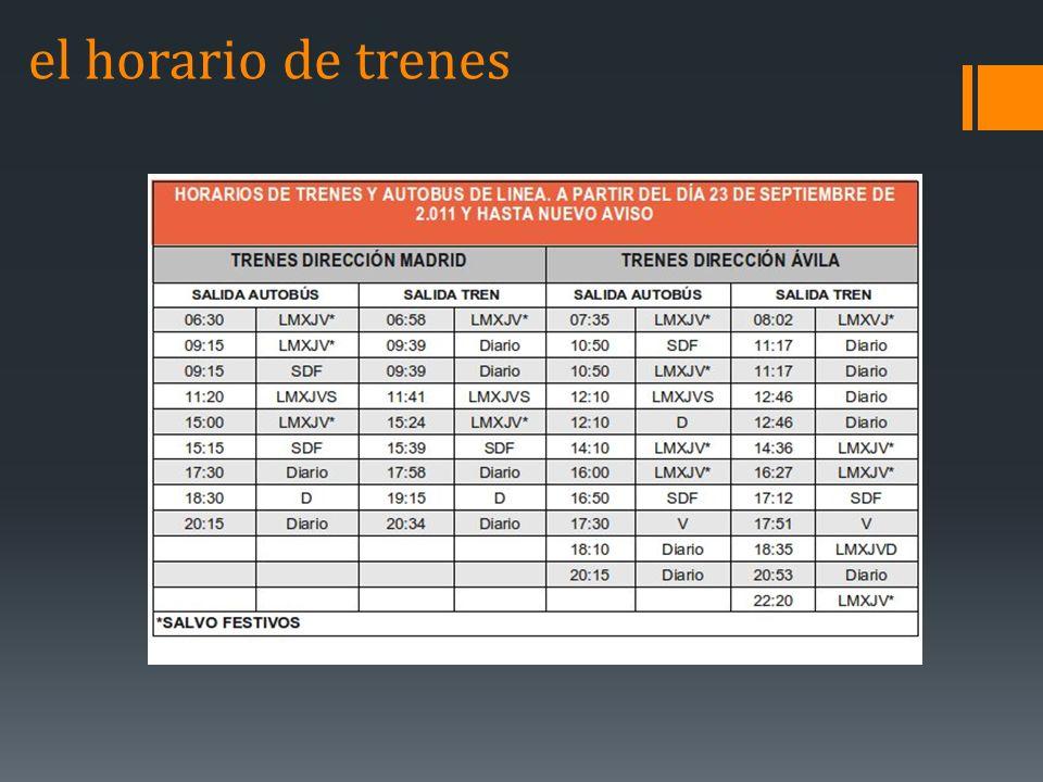 el horario de trenes