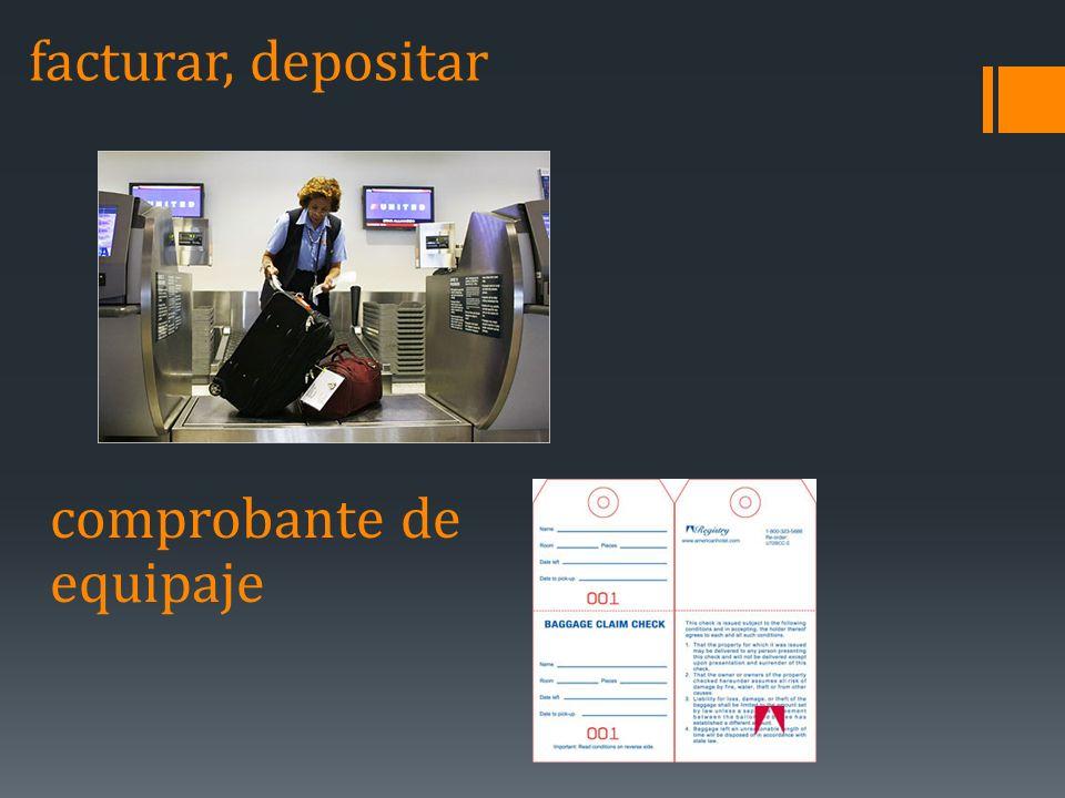 facturar, depositar comprobante de equipaje