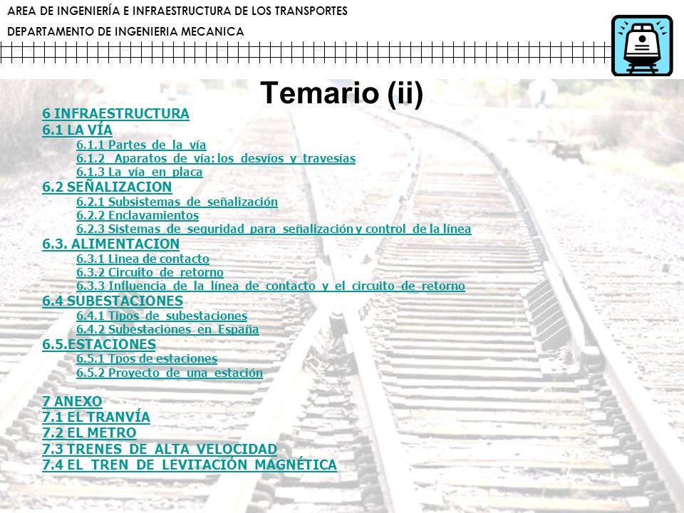 Temario (ii) 6 INFRAESTRUCTURA 6.1 LA VÍA 6.2 SEÑALIZACION